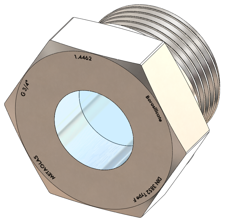 BSPP-Threaded Sight Glass, Borosilicate Fused to Metal Housing
