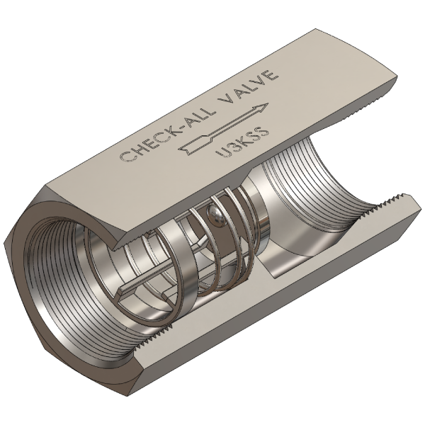 316 Stainless Steel Universal Low Pressure Check Valve, Female NPT