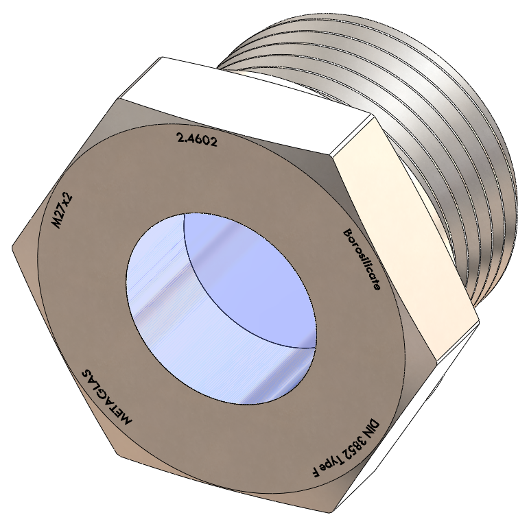 Metric Threaded Sight Glass, Borosilicate Fused to Metal Housing